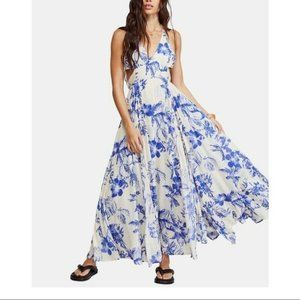 NEW Free People Lille Printed Tie-Back Maxi Dress